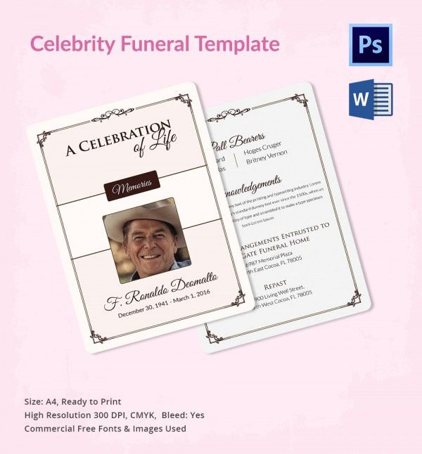 5 Funeral Templates for Celebrities - Word, PSD Format Download ...