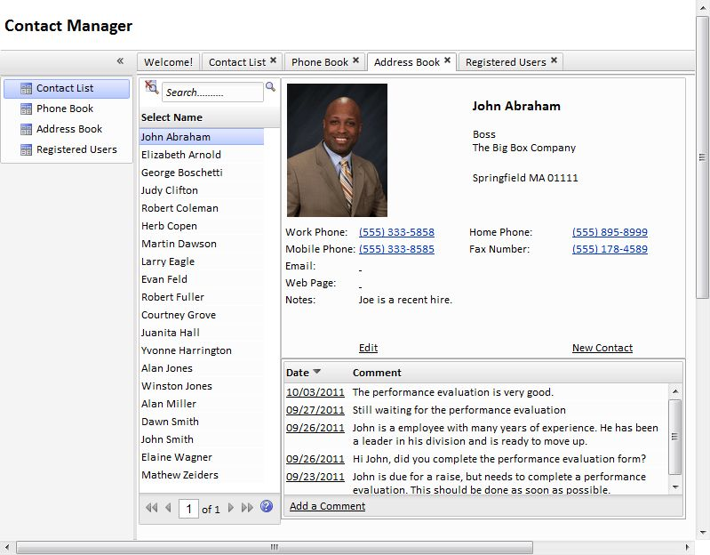 Web Contact Manager Template