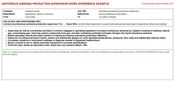 Anhydrous Ammonia Production Supervisor Job Title Docs