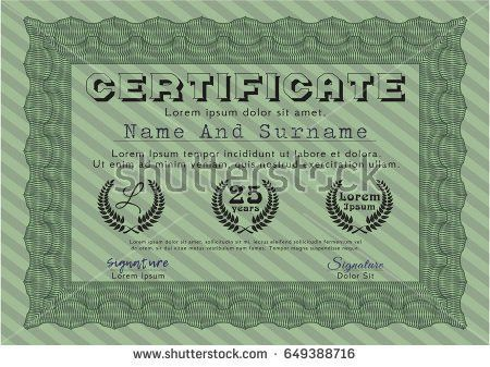 Green Certificate Diploma Template Beauty Design Stock Vector ...