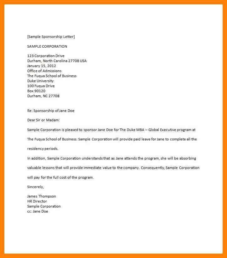 5+ sponsorship letter samples | cv for teaching