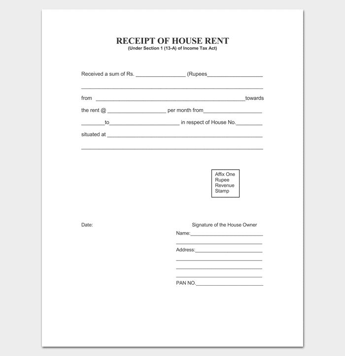 Rent Receipt Template - 9+ Forms for Word Doc, PDF Format