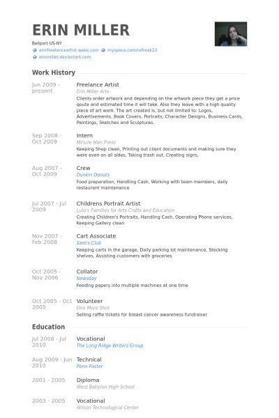 Freelance Artist Resume samples - VisualCV resume samples database