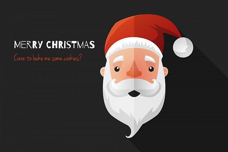 Flat Design Santa Claus Face. Icon. Gre | Design Bundles
