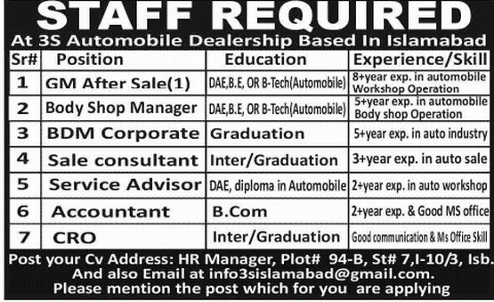 Consultant Job in 3S Automobile Dealership Islamabad, GM Sale ...