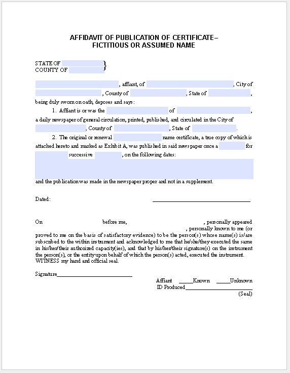 Affidavit Form for Publication of Certificate Fictitious or ...