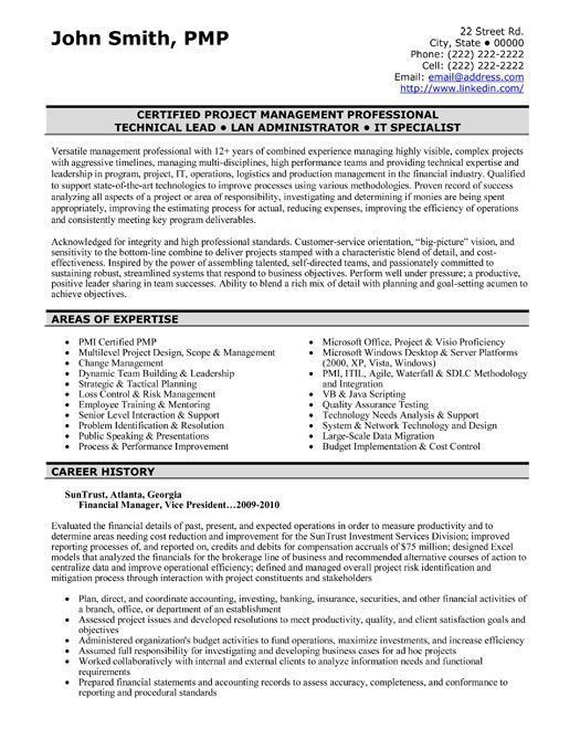 Resume of finance professional