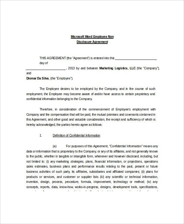8+ Non Disclosure and Confidentiality Agreement Templates – Free ...