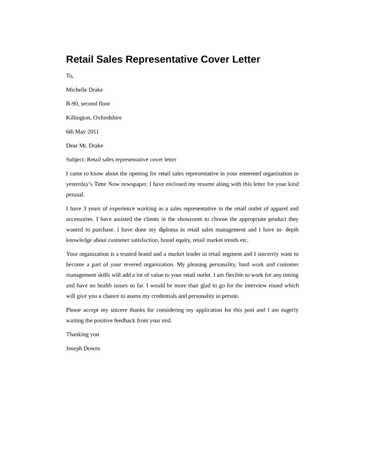 Basic Retail Sales Representative Cover Letter Samples and Templates