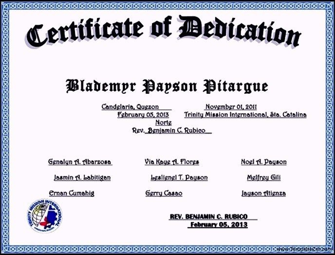 Baby Dedication Certificate Template. Geographics Paper Award ...