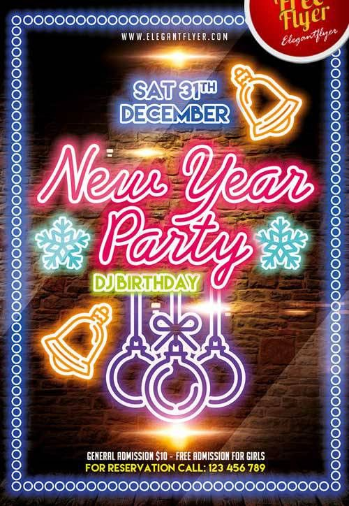 Download Free New Year Party PSD Flyer Template
