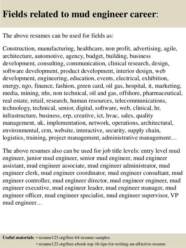 Top 8 mud engineer resume samples