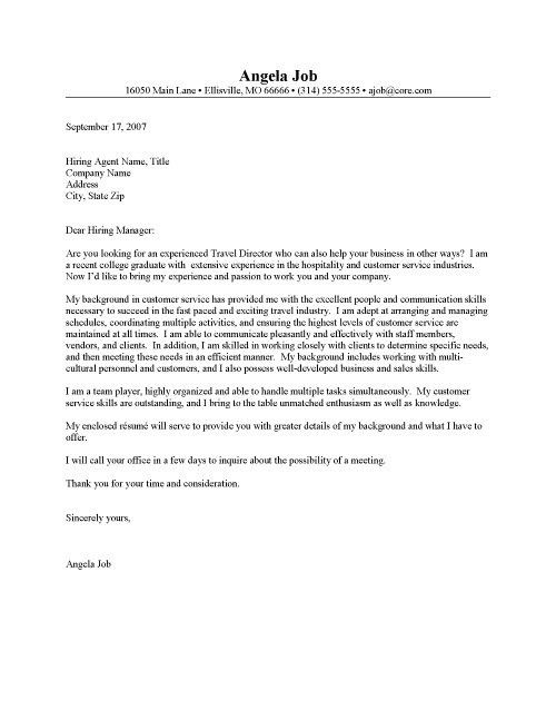 good cover letter examples for customer service
