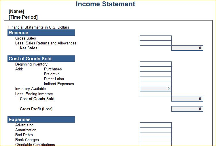 5+ income statement template excel | Outline Templates
