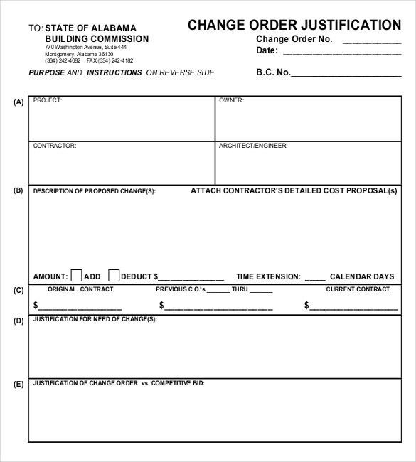 15+ Change Order Templates U2013 Free Sample, Example, Format Download .