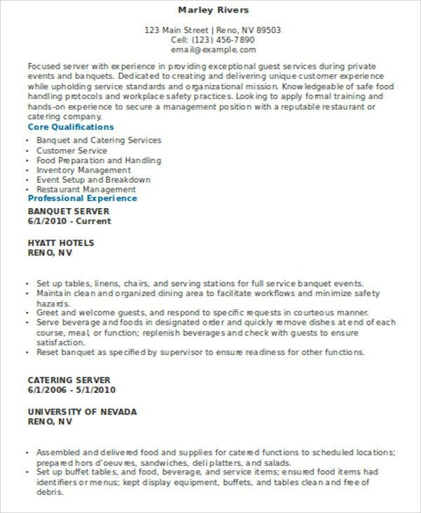 10+ Server Resumes - Free Sample, Example Format Download | Free ...