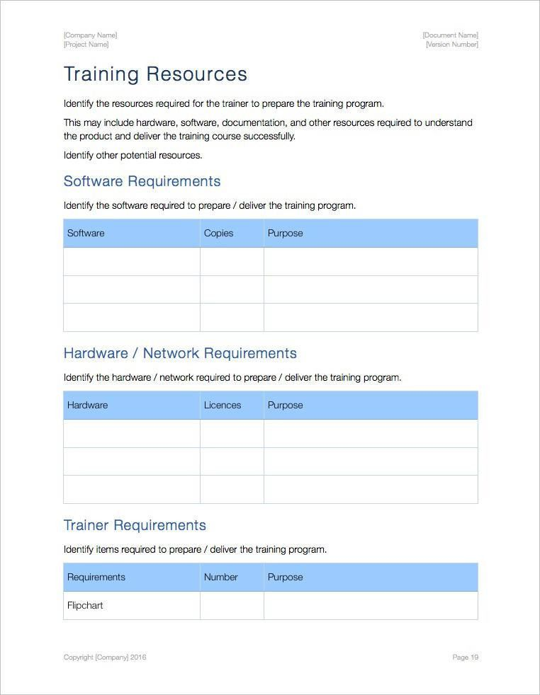 Training Plan Template (Apple iWork Pages and Numbers)