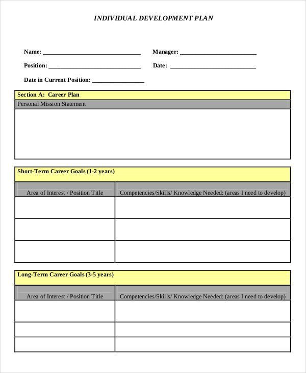 9+ Individual Development Plan Templates -Free Sample, Example ...