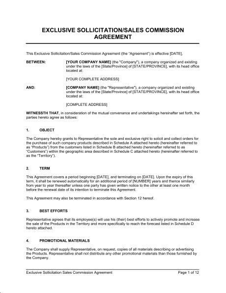Commission Sales Agreement - Template & Sample Form | Biztree.com