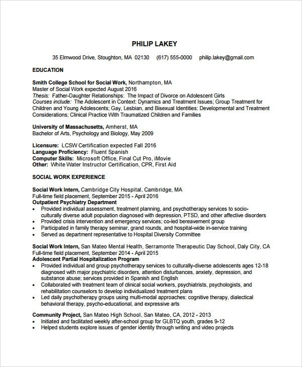 Sample Social Worker Resume Template - 9+ Free Documents Download ...