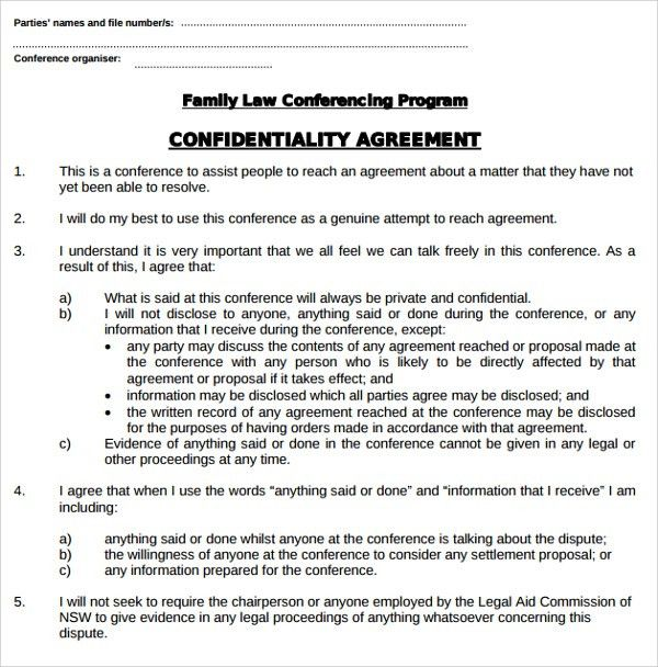 Sample Legal Confidentiality Agreement Template - 8+ Free ...