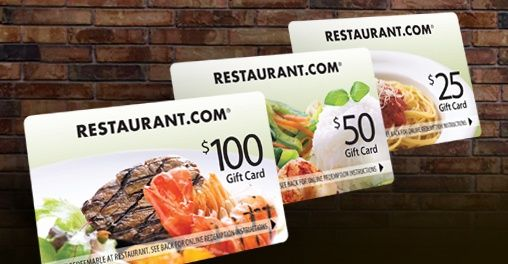 Four Restaurant.com Gift Cards donated by Restaurant.com