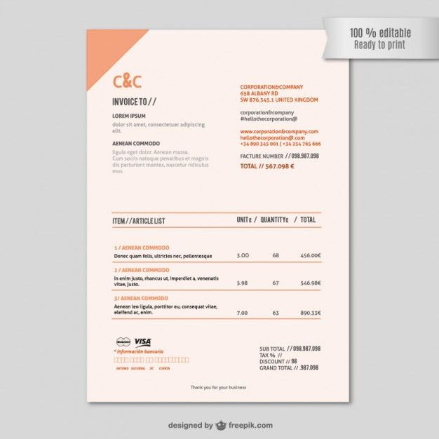 Invoice template Vector | Free Download