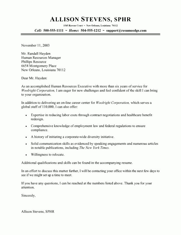 Writing A Cover Letter To Human Resources 13 Sample Cover Letter ...