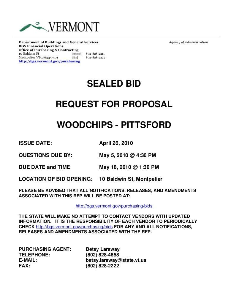 SEALED BID REQUEST FOR PROPOSAL