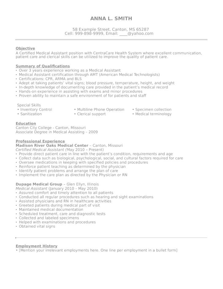 Entry Level & Freshers Medical Assistant Resume Template