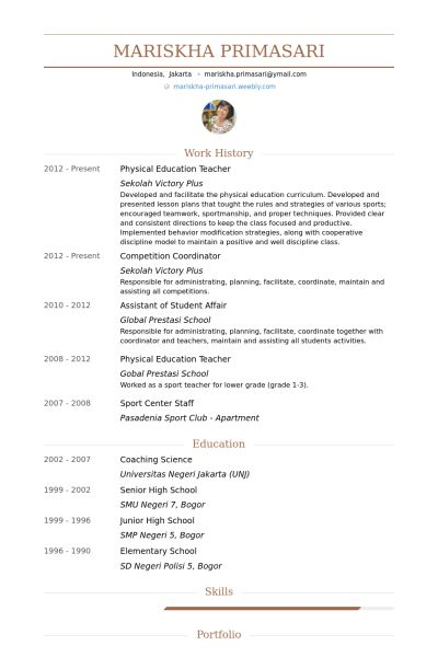 Physical Education Teacher Resume samples - VisualCV resume ...