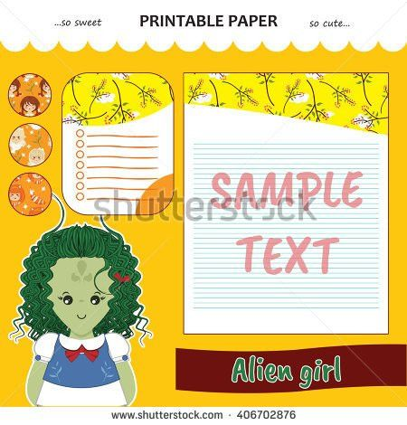 Kawaii Cute Set Vector Printable Paper Stock Vector 404893555 ...