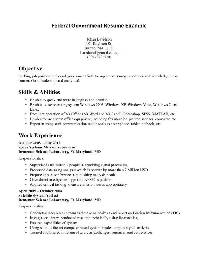 Carson SeeleyDance Resume. Government Job Resume Example Cover ...