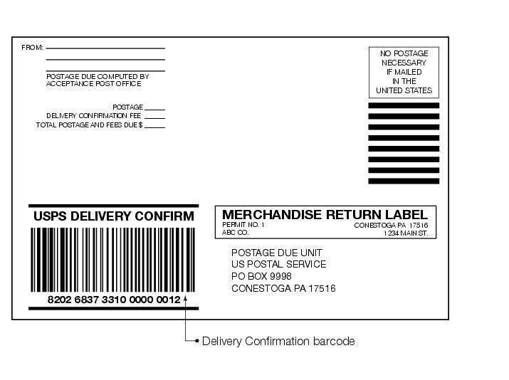 Shows the format for Mechandise Return label with Delivery ...