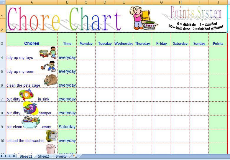 Family Daily Chore Chart Template Free | Formal Word Templates