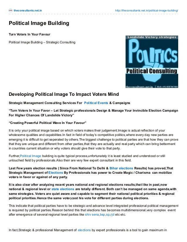 Political image building- CONSULTING SERVICES FOR Political Parties