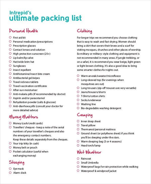 Packing List Template - 14+ Free Word, PDF Documents Download ...