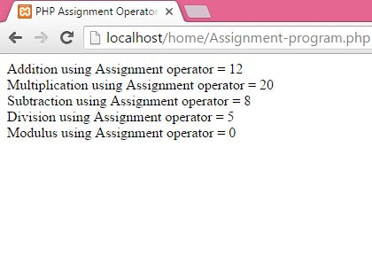 PHP Assignment Operators example tutorial - Android Examples