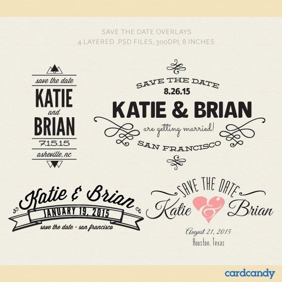 Digital Save The Date Card Overlays DIY Save The Date