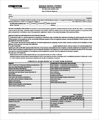 Sample Financial Statement Form - 8+ Free Documents in PDF