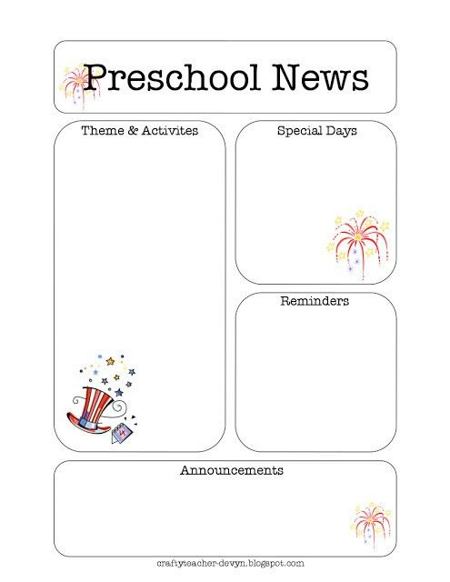 The Crafty Teacher: July Preschool Newsletter Template | Creative ...