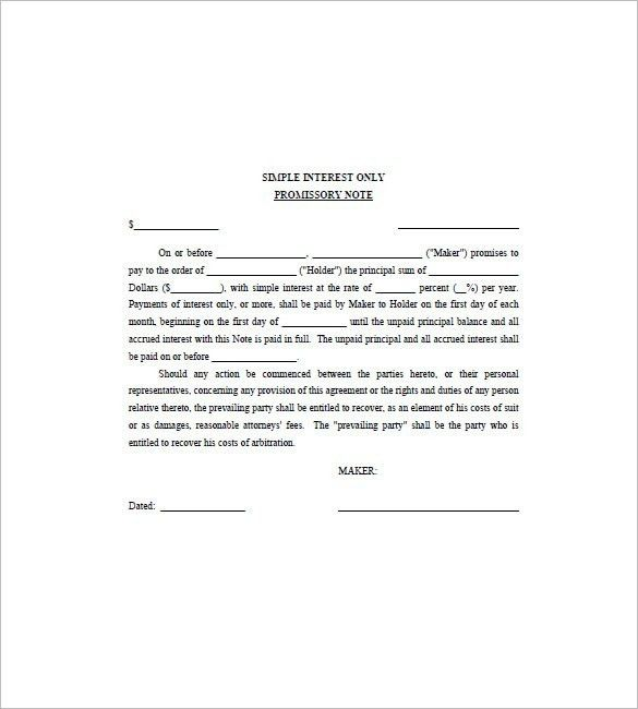 Free Promissory Note Template For Personal Loan | Template Idea
