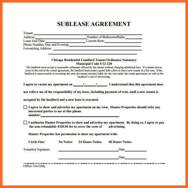 sublease agreement template | soap format