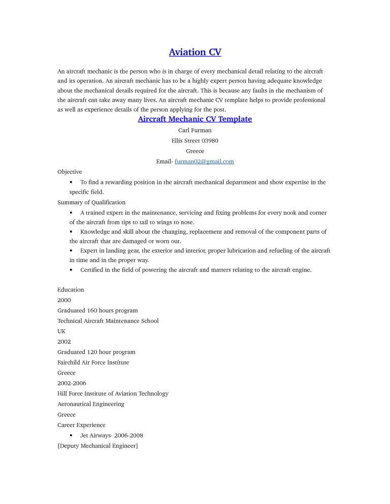 Homely Idea Aircraft Mechanic Resume 8 Objective - Resume Example