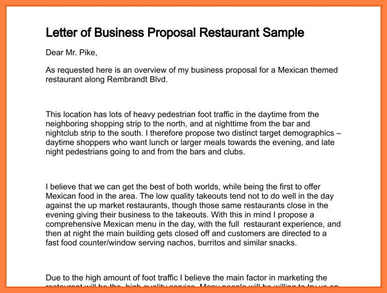 10+ business proposal letter for restaurant | Bussines Proposal 2017