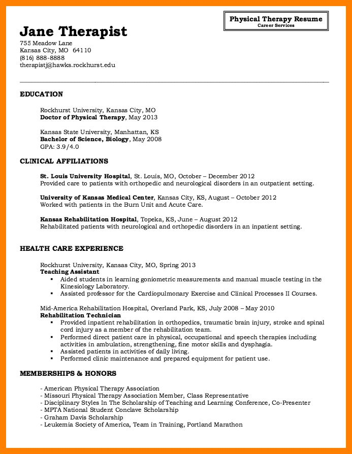 5+ physical therapy cv | care giver resume