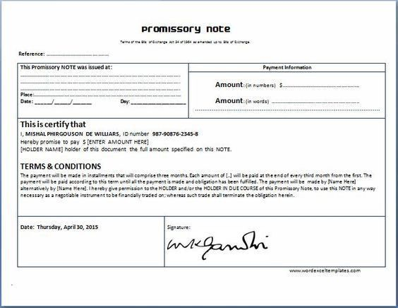 General Promissory Note Template | Collection of Everyday Word ...