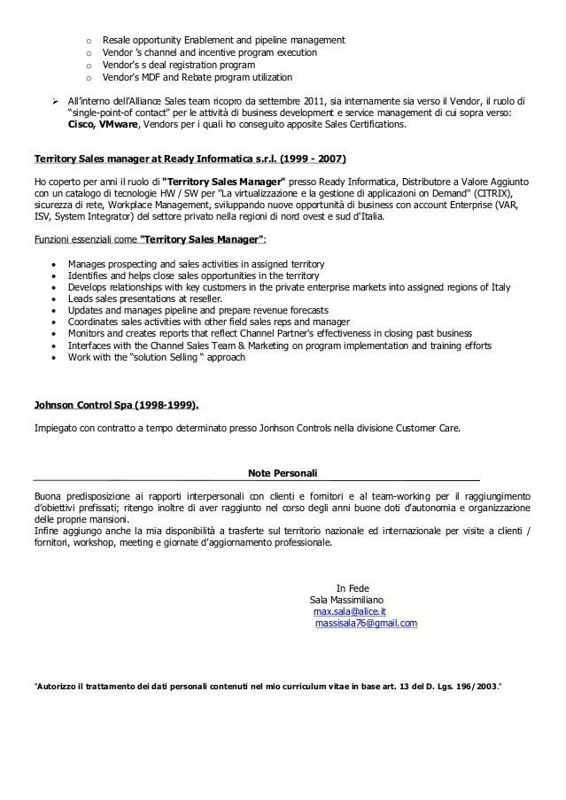 M. Sala - Alliance and Sales Manager CV