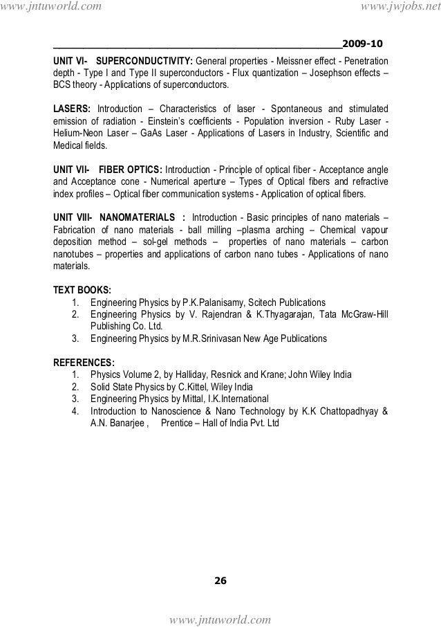 Jntua mechanical engineering (r09) syllabus book