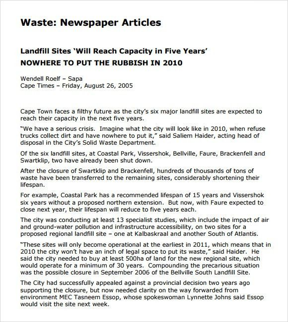 Newspaper Article Sample - 8+ Documents in PDF, Word, PSD